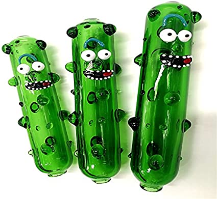 Dalong Glass Pipe for Tabacco Handmade 5 Inch Pickle Rick and Morty Fans:  Amazon.co.uk: Kitchen & Home