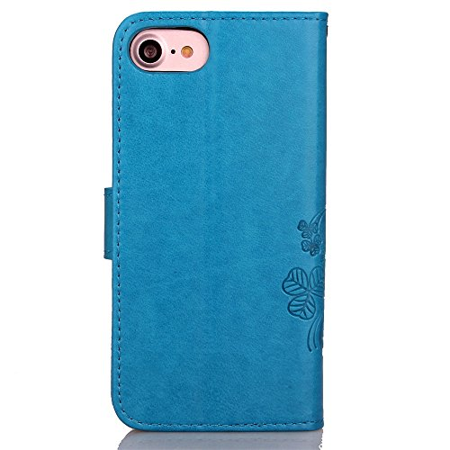 XHD-Personalidad y moda juegos de teléfono Caso del iPhone 7, caja superior de la cartera de cuero de la PU con la ranura en efectivo de la tarjeta flores en relieve cubierta afortunada del soporte de Blue