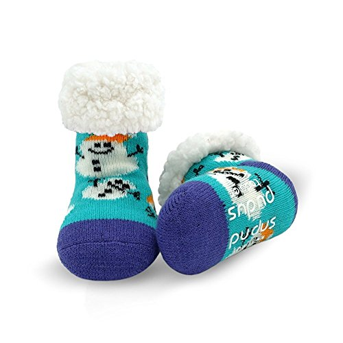 Pudus snowman aqua toddler (1-3 years) cozy winter classic slipper socks with grippers ()