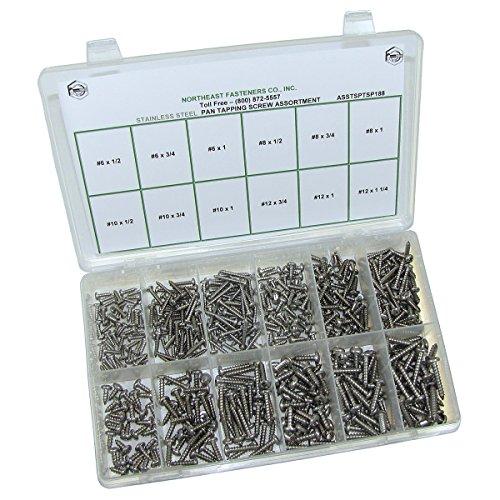 NEF Stainless Steel Self Tapping Screw Assortment, Phillips Pan Head Screws, 480 Piece Kit, 12 Hole Plastic Organizer