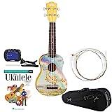 Luna Aurora Soprano Ukulele Dragon w/ Knox Padded Case, Yamaha GCT1 Clip-On Tuner & Strings & DVD