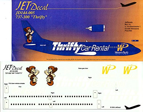 Jet Decal 1 144 Western Pacific Boeing 737 300 Thrifty Car Rental  144 005
