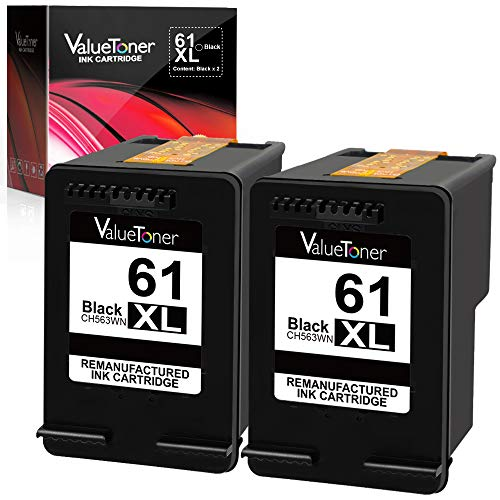 Valuetoner Remanufactured Ink Cartridge Replacement for HP 61XL 61 XL High Yield for HP Envy 4500 5530 5534, Deskjet 2540 1000 1010, Officejet 4630 2620 4635 Printer (2 Black) by Valuetoner