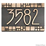 The Batchelder Tile Address Plaque 12x8 - Raised Bronze Patina Metal Coated
