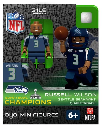 2013 Russell Wilson Super Bowl XLVIII 48 Champions Oyo Mini Figure Lego Compatible Seattle Seahawks production limitée