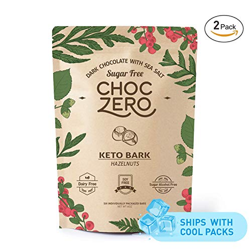 - ChocZero's Keto Bark, Dark Chocolate Hazelnuts with Sea Salt. Sugar Free, Low Carb. No Sugar Alcohols, No Artificial Sweeteners, All Natural, Non-GMO (2 bags, 6 servings/each)