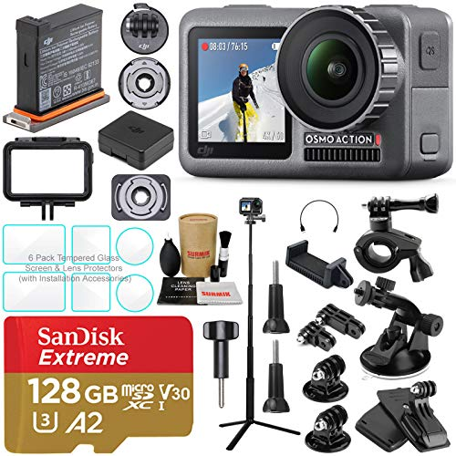 DJI OSMO Action Camera Essential Combo Bundle with SD Card, Extension Rod/Selfie Stick, Tripod & Must Have Accessories ()
