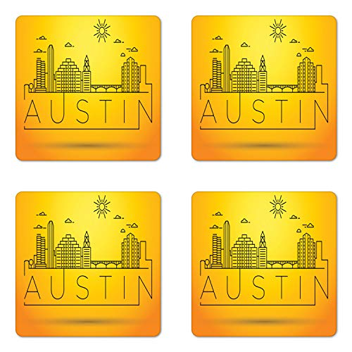 Ambesonne Austin Coaster Set of Four, Minimal Texas City Linear Skyline with Typographic Design Doodled Sun Icon, Square Hardboard Gloss Coasters for Drinks, Yellow and -