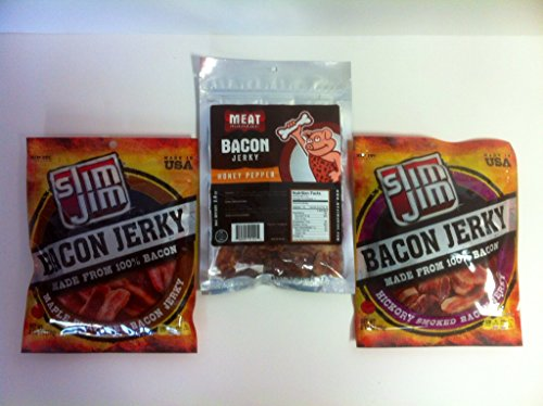 Honey Bacon (Meat Maniac/Slim Jim Bacon Jerky (3pk) Hickory Bacon and Maple Bacon 2.75oz Honey Pepper Bacon 2oz)