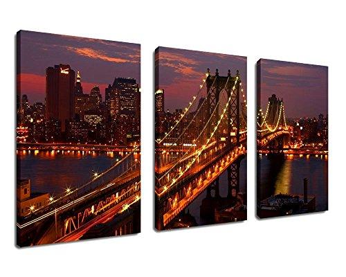 Canvas Sunset Manhattan Bridge Night product image