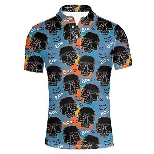 HUGS IDEA Skeleton Print Vintage Men's Jersey Golf Polos T Shirts Fashon Hipster Summer Short Sleeve Slim Fit Tees Tops - Jersey Vintage Polo Shirt