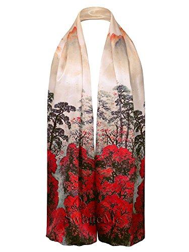 Swhiteme Luxurious 100% Silk Charmeuse Long Scarf (Red ()