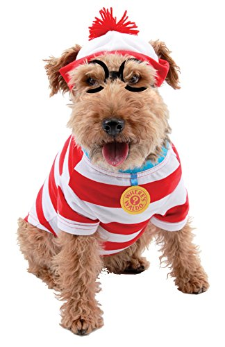 Where's Waldo Woof Costume (UHC Woof Where's Waldo Outfit Fancy Dress Puppy Halloween Pet Dog Costume, M)