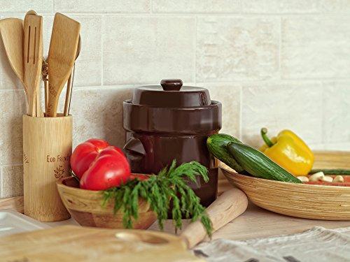 Kenley Fermentation Crock Jar 2 Liter Stoneware Pot For
