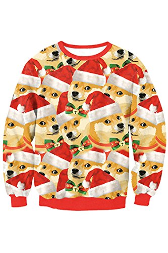 Lacostew Unsiex Christmas Funny Dog Ugly Sweaters Pullover Sweatershirts Yellow L for $<!--$30.99-->