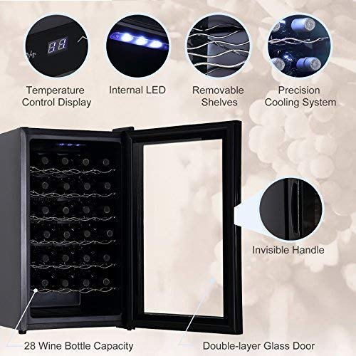 KUPPET Wine Cooler Freestanding Thermoelectric Wine Refrigerator Cabinet Red and White Wine Cellar,Black (28 Bottle)