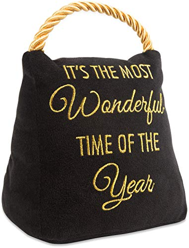 Pavilion Gift Company Pavilion-It's The Most Wonderful Time of The Year-Black Velvet 6 Inch Tall-2 Pounds Door Stopper, 6