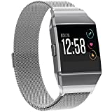 Fitbit Ionic Bands Metal Silver Small, SnowCinda Stainless Steel Milanese Magnetic Replacement Sprot Strap Accessories for Fitbit Ionic Smart Watch Women Men