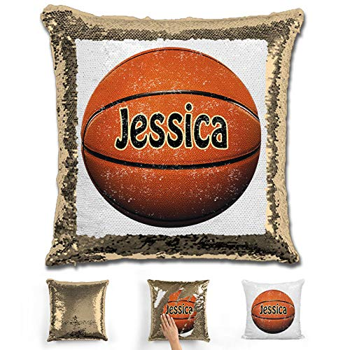 LemonsAreBlue Basketball Personalized Mermaid Reversible Sequin Pillow, Silver/Red/Gold/Blue Custom Basketball Sequin Pillow