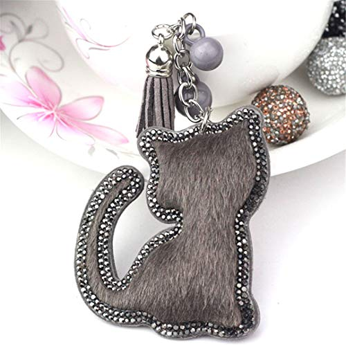 JBANPOWLU Cute Big Cat Tassels Horse Hair Bag Bugs Car Ornaments Leather Tassels Bag Charm Key Chain Gray