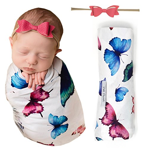 Butterflies Gift Wrap - PoshPeanut Infant Swaddle Butterfly Blanket - Large Premium Knit Baby Swaddling Receiving Blanket And Headband Set, Baby Shower Newborn Gift (Butterfly)