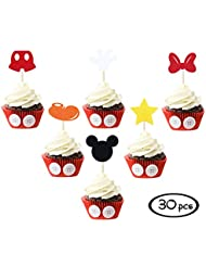 Mickey Mouse Inspired Cupcake Toppers (Set of 30) Kids Birthday Party Supplies Decorations Baby Shower Parties