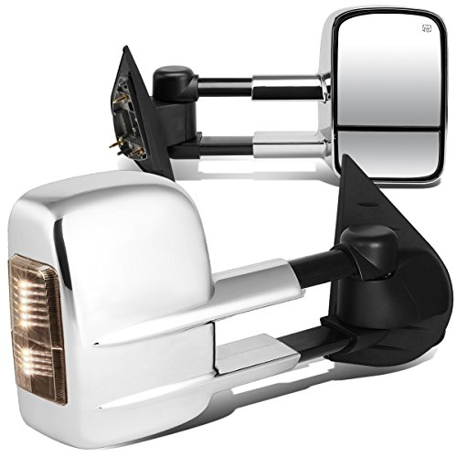 Suburban Chrome Manual Mirror - For Escalade/Tahoe Pair of Powered + Heated Smoked Signal Glass + Manual Extenable Chrome Side Towing Mirrors