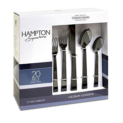 (Hampton Signature 20-PC Stainless Steel Flatware Set 25 Year Warranty Gunmetal)