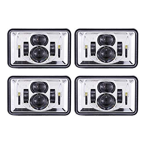Headlight Lamp Set - TRUCKMALL 4x6 inch LED Headlights Set Kit Lights Lamps Accessories Compatible with H4651 H4652 H4656 H4666 H6545 for Peterbil Kenworth Freightinger Ford Probe Chevrolet Oldsmobile Cutlass Chrome 4PCS