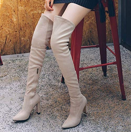 Damen Slim Heels HCBYJ Leder cm Baumwolle Plattform in Kniehohe High Winter Heel 9 Stiefel Schneeschuhe Herbst High Stiefel wwrOUxz