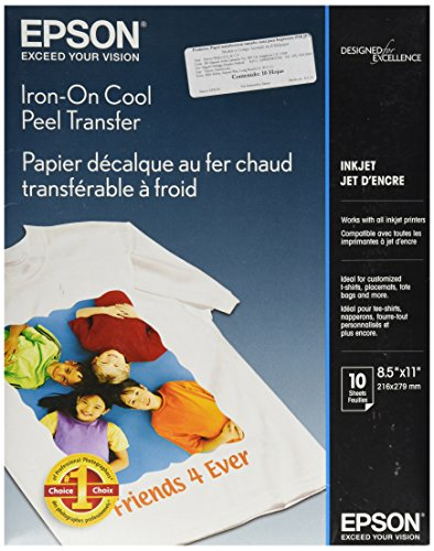 Epson Iron-on Cool Peel Transfer (8.5x11 Inches, 10 Sheets) (S041153) (Transfer T-shirt Peel)
