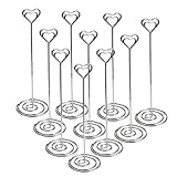 #10: Jofefe Place Card Holders Heart Shape Table Number Holder Stands Picture Photo Note Memo Clip for Wedding