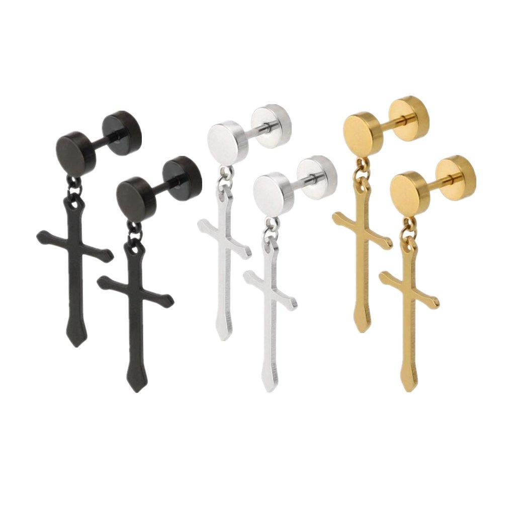 Black, Gold, Silver Cross Dangle Earrings Set of 3 Pairs Pierced Screw Tunnel Stud Earrings with Prayer Cross Drop Earrings 6 PCS