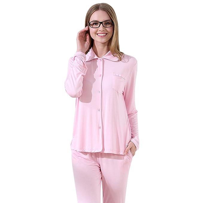 Baymate Camisones Mujer de Mangas Larga y Pantalones Largos, Ropa Interior Elegantes Pijamas Conjunto
