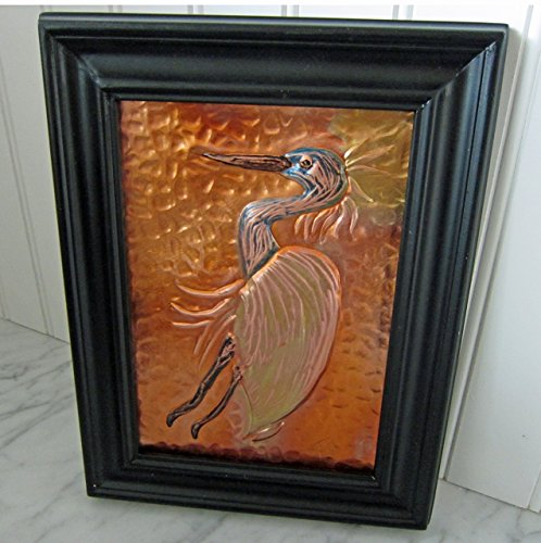 original-copper-hand-embossed-and-etched-herron-in-a-7x9-frame
