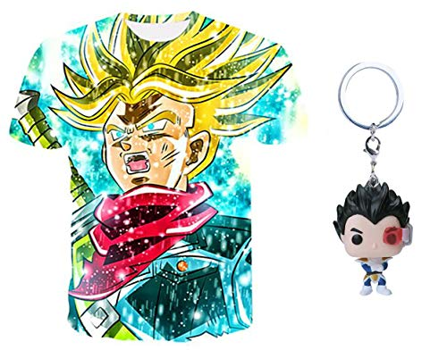 3Square Unisex Dragon Ball Z T-Shirt with Free Vegeta Figure Keychain (Tag XL/US Medium, Trunks PowerUp)