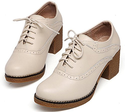 Chaussures Oxford Pour Les Femmes, Satuki Plate-forme Décontractée Lacets Talons Robe Chaussures Blanc