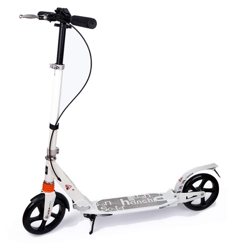 CMXIA Bianco con Il motorino Pieghevole Regolabile in Altezza di Freno a Mano Adulto Scooter a Due Ruote della Città Ragazzo Adolescente Grande Tutto in Alluminio