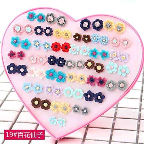 Gift Flower Earrings Earring Ear Dangler Women Girls Student Party Boutique Girlfriends Plastic Box Elegant Children Cute Students (Fairy Flowers # 19