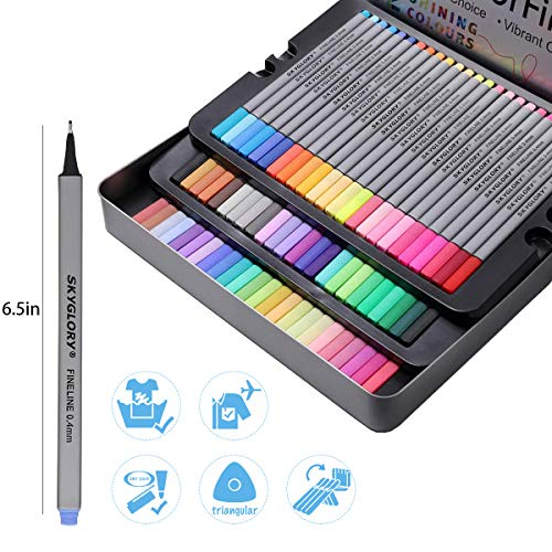 72 Fineliner Color Pen, 0.4 mm Colored Fine Tip Markers for Adults, Journal Pens No-Bleed, Art Pens, Writing Pens, Bullet Pens for Journaling, for Drawing & Adult Coloring Books