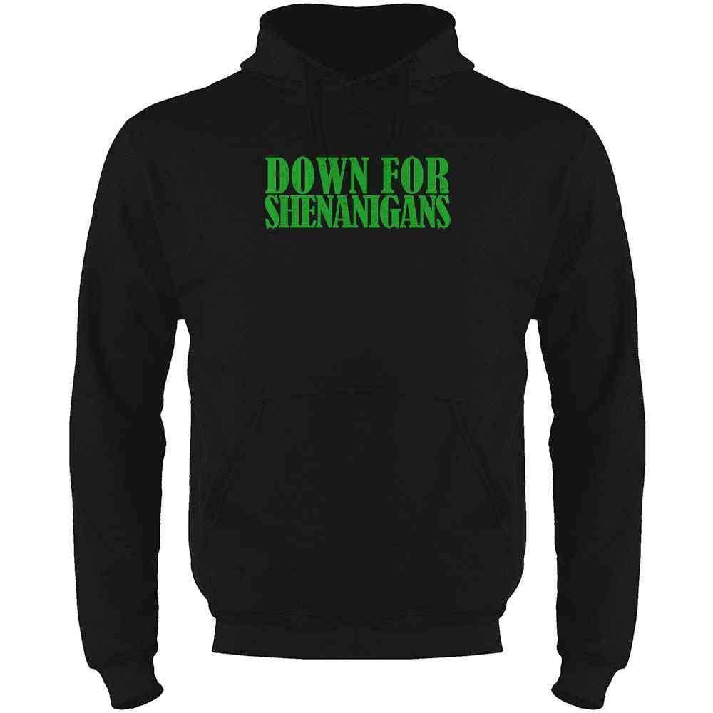 Pop Threads Down for Shenanigans St Patricks Day Mens Fleece Hoodie Sweatshirt