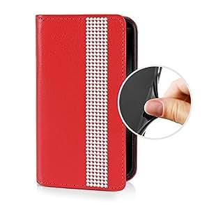 eSPee i4Bo054 - Funda de piel sintética para Apple iPhone 4 y 4S (con carcasa de silicona y cierre magnético) diseño de ribete con diamantes de imitación color rojo