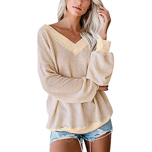 Women's Solid Color Baggy Blouse Waffle Knit Fitting Warm Pullover Tops V Neck Off Shoulder Lantern Sleeve Autumn Shirt Tunic
