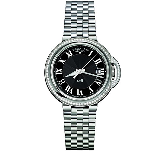 Bedat & Co Women's No.8 Diamond 41.5mm Steel Bracelet & Case Automatic Black Dial Analog Watch 831.031.300