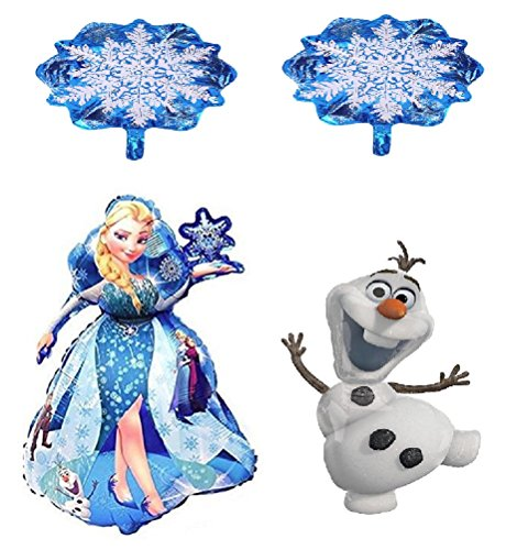 Disney Princess Frozen Birthday Party - Queen Elsa Mylar Helium Balloons - 4 Balloons & Ribbon Decoration - Bundle by Jolly Jon ® (Elsa/Olaf / 2 -