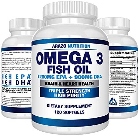 Vitamins & Supplements: Arazo Nutrition Omega 3 Fish Oil