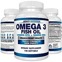 Omega 3 Fish Oil 2250mg   HIGH EPA 1200MG + DHA 900MG Triple Strength Burpless Capsules   Arazo Nutrition (120 Count)