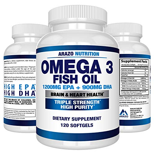 Omega 3 Fish Oil 2250mg – High EPA 1200MG + DHA 900MG Triple Strength Burpless Capsules – Arazo Nutrition (120 Count)
