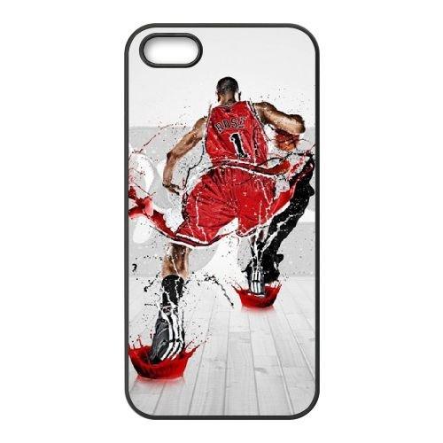 Derrick Rose coque iPhone 4 4S cellulaire cas coque de téléphone cas téléphone cellulaire noir couvercle EEEXLKNBC24536
