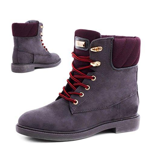 Damen Schnür Stiefeletten Stiefel Worker Boots in Lederoptik leicht gefüttert Grau